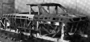 Wooden bucks where the prototype panels were formed.