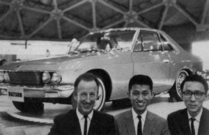 Silvia at the 11th Tokyo Motor Show, (Left to Right) Albrecht Geortz, KIMURA san and YOTSUMOTO san.